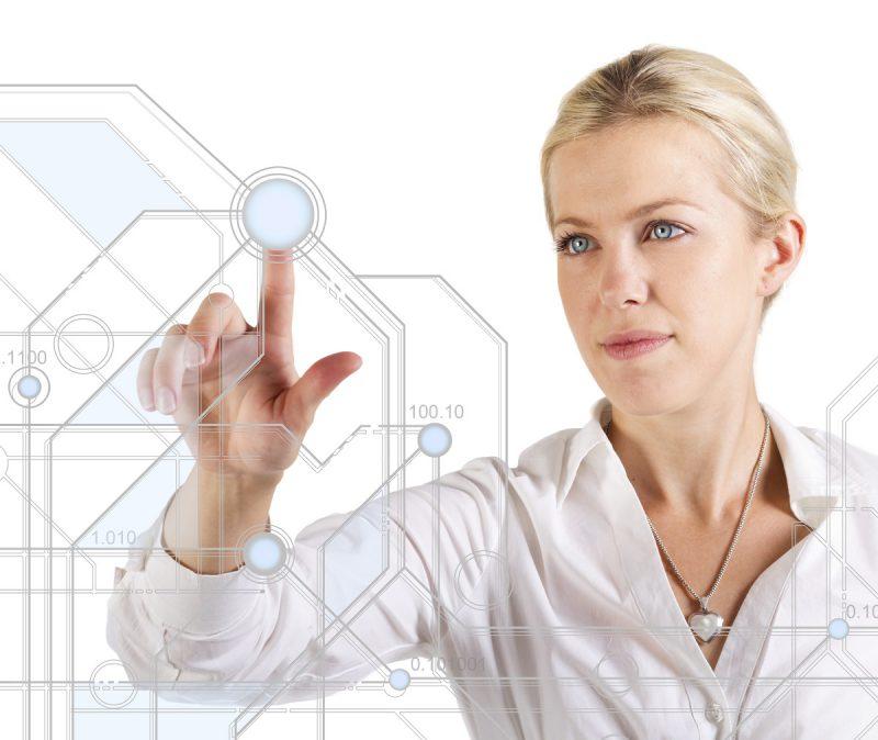 woman touching diagram on futuristic screen