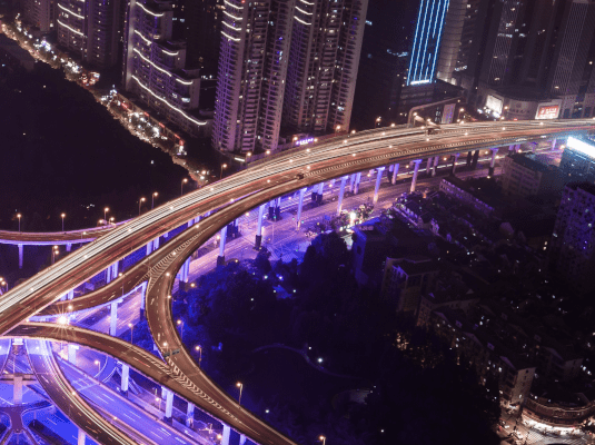 Aerial image of road junction at night