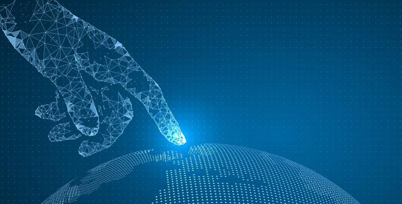 a digital hand touching a digital world