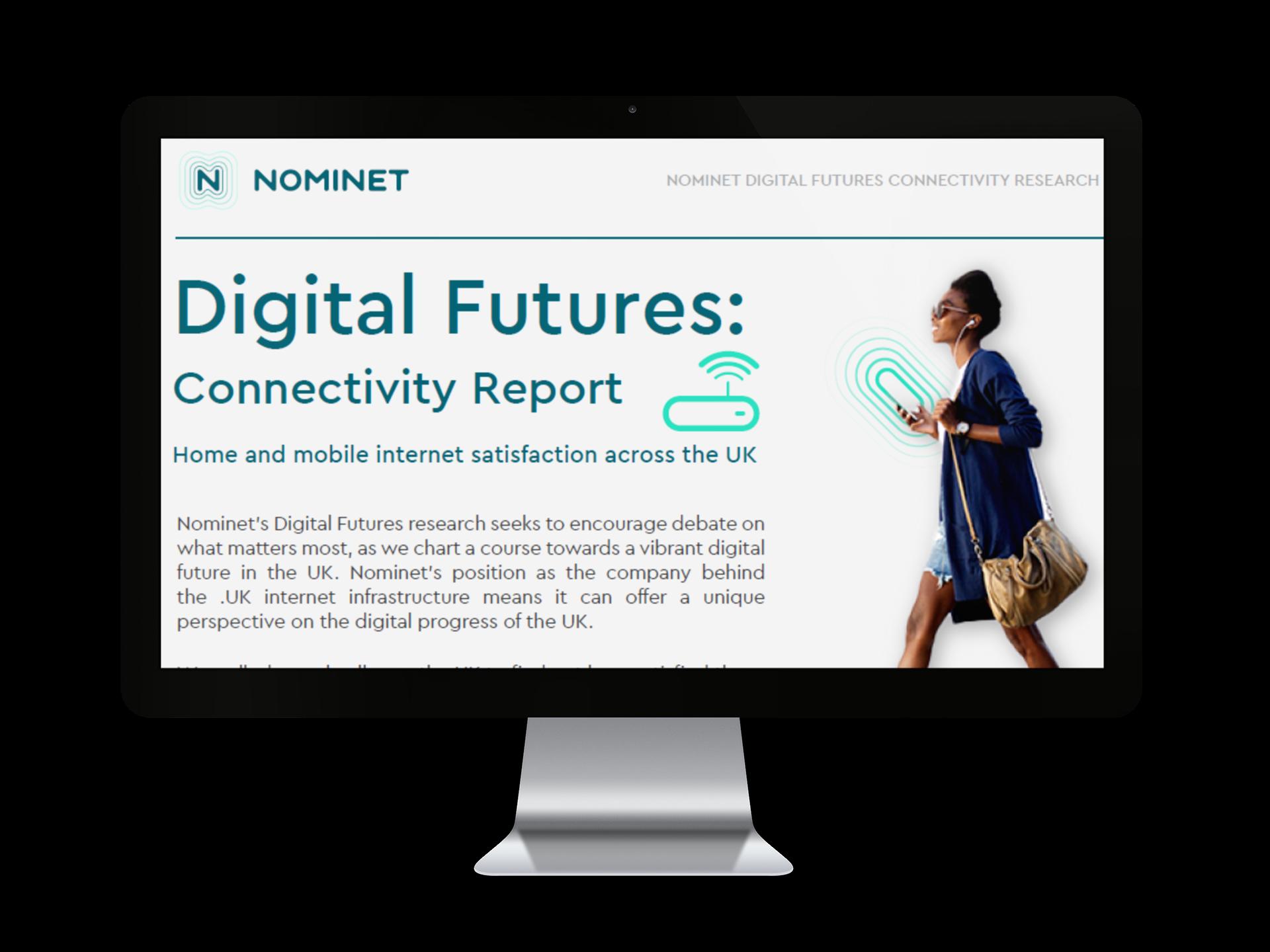 Desktop screen promoting Digital Futures: Connectivity Report
