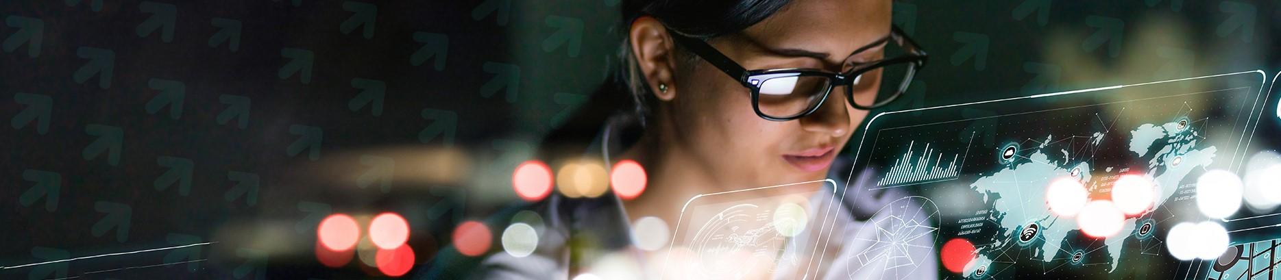 Woman looking at data