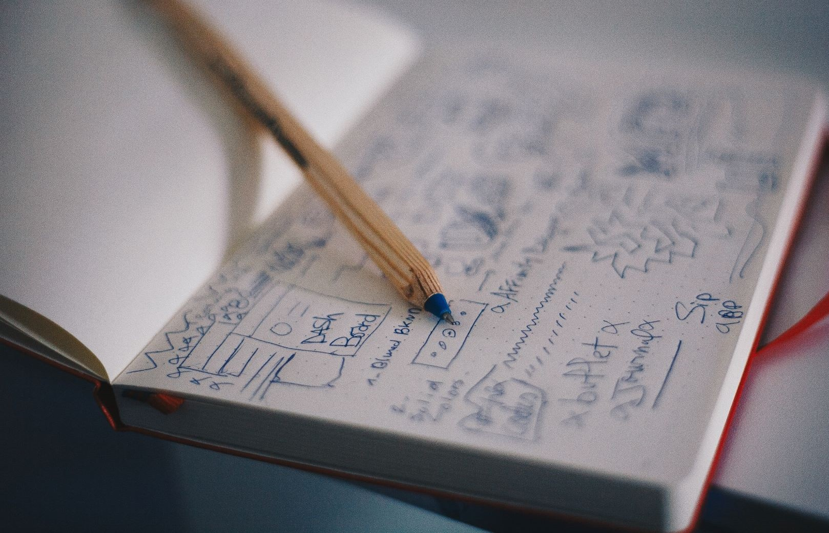 notebook with plans
