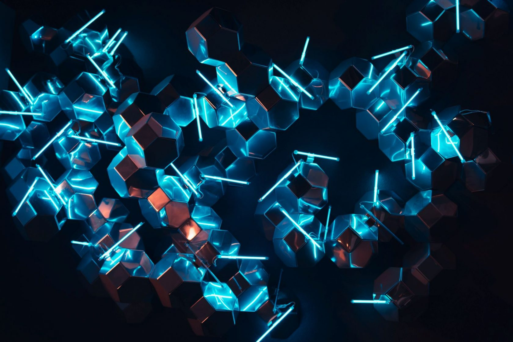 Abstract photograph of hexagonal blocks with neon lights