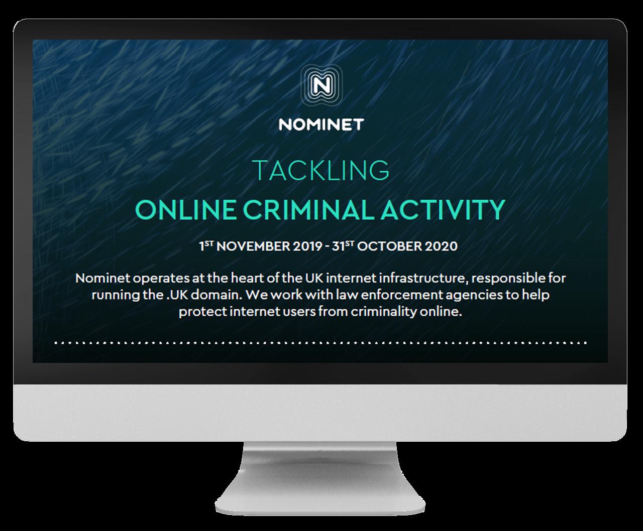 Desktop screen promoting Tackling Online Criminal Activity